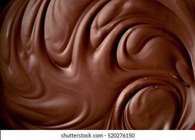 Melted chocolate swirl background. close up.