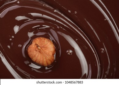 Melted chocolate swirl with hazelnut as a background closeup