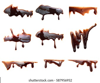 Melted chocolate syrup dripping on white background. Streams isolated on white