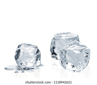 Melted clear Ice cubes with water isolated on white background