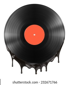 melted or hot vinyl record disc isolated