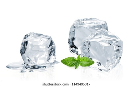Melted ice cubes with basil leaf isolated on white background