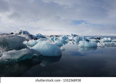 Melting Arctic glacial lagoon in Iceland on a cloudy day