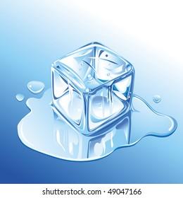 Melting Blue Ice Cube, raster version