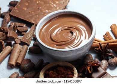 Melting chocolate  or melted chocolate with a chocolate swirl. Many stack and chips with powder