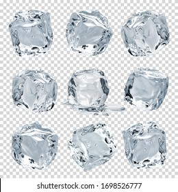 Melting clear ice cubes on isolated transparent background including clipping path. Collection of various crystal clear ice cubes.