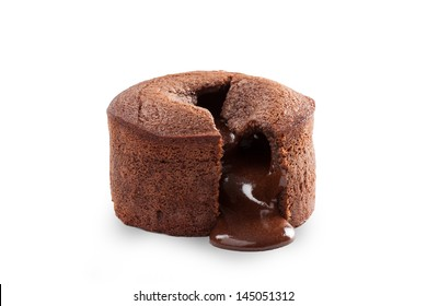 Melting delicious chocolate pudding isolated on white