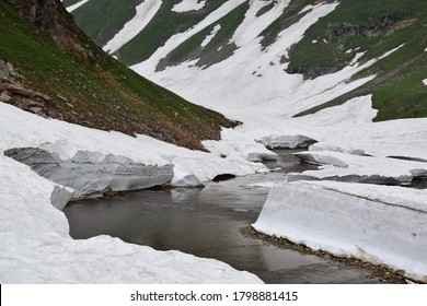 Melting glacier in the snow covered Himalayan mountains of Azad Kashmir