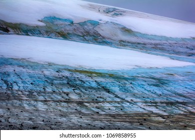 Melting of glaciers in high arctic zone. Currently, there are stones which are on glacier during the Ice age. glacial till  climate change. Arctic, Franz Josef Land