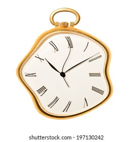 Melting golden pocket watch isolated on white background. Concept of time, past or deadline