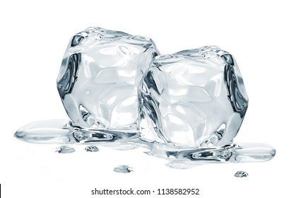 Melting ice cubes isolated on white background including clipping path