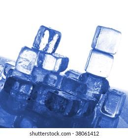 melting ice cubes isolated on white background