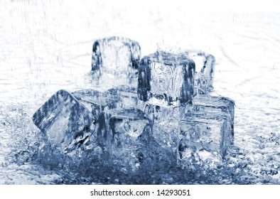Melting ice cubes in rain