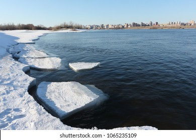 Melting ice on the Ob River in the spring, Novosibirsk, Russia