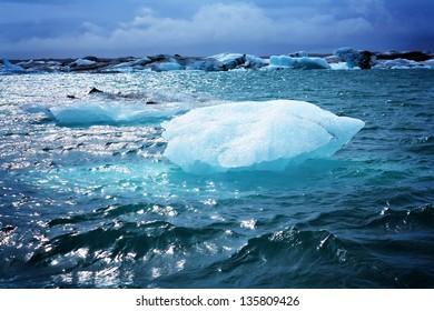 Melting iceberg at Jokulsarlon lagoon in Iceland