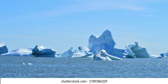 Melting icebergs in Disko Bay, Greenland