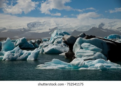 Melting icebergs from the glacier on Iceland