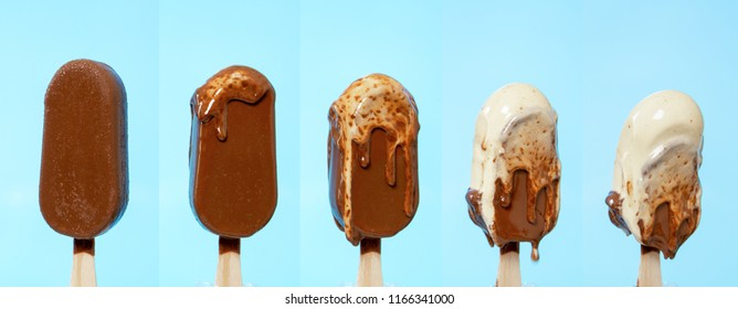 melting melted chocolate ice cream in summer hot weather