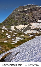 Melting snow in the Norwegian mountains