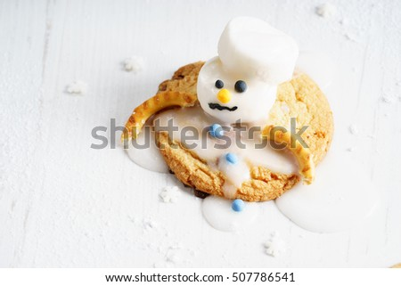 Melting Snowman Biscuits Marshmallow Snowman Decorates Stock Photo