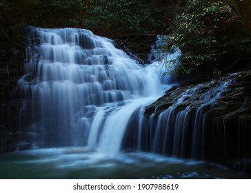 Melton Creek Falls Obed national scenic river in Eastern Tennessee during peak falls colors - Shutterstock ID 1907988619