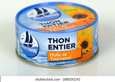 MELUN - FRANCE - AUGUST 2020: petit navire's canned food which is a famous french mark of tuna