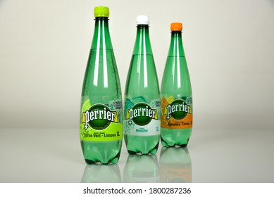 MELUN - FRANCE - AUGUST 2020: pictures of perrier's bottle which is a famous french mark of fizzy water