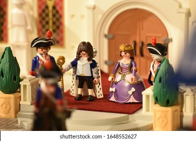 Melun - France - february 2020 : beautiful exposure of playmobil on the theme of gendarmerie