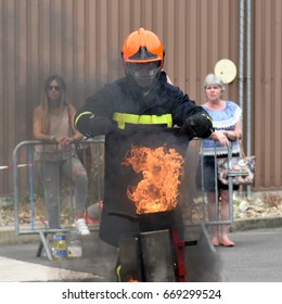 MELUN - FRANCE - JUNE 2017: training of fire department at the brigade