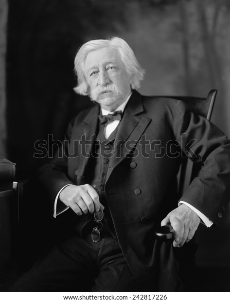 Melville W. Fuller (1833-1910), eighth Chief Justice of the United States Supreme Court from 1888 through 1910. The Court decided in favor of racial segregation in the Plessy v. Ferguson case of 1896.