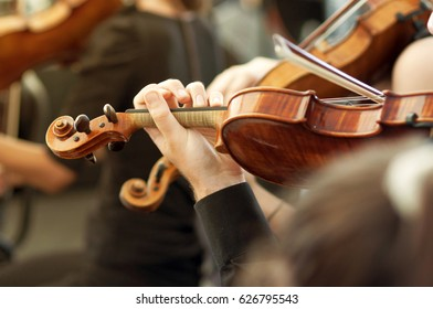 Member of classical music orchestra playing violin on a concert, unrecognizable musician with string instrument, selective focus
