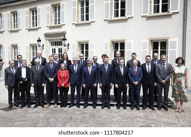 Member of the Eurogroup pose for a familly picture during a meeting for the 20th anniversary of Eurogroup at Castle of Senningen in Luxembourg, 21 June 2018.
