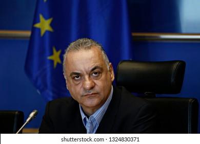 Member of European Parliament Manolis Kefalogiannis attends in parliamentary committe in EU Parliament Brussels, Belgium on Feb. 26, 2019