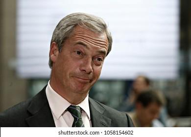 Member of the European Parliament, Nigel Farage arrives for a summit of European Union (EU) leaders in Brussels, Belgium on June 28, 2016.
