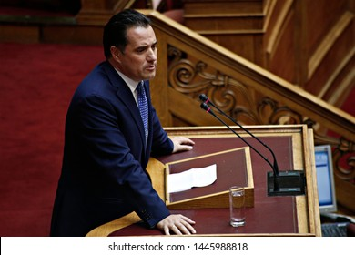 Member of the Greek  Parliament Adonis Georgiadis attends in a discussion at the plenary hall of the Greek parliament in Athens, Greece on Oct. 9, 2017
