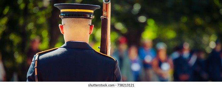A member of The Old Guard on duty at Arlington National Cemetery.