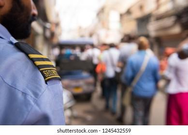 Member of security guard working outdoor