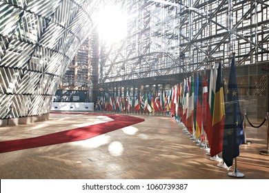 The Member States flags of the European Union in EU Council building in Brussels, Belgium on April 29, 2017