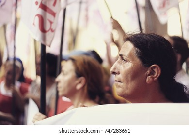 Member of trade unions are on demonstration for their jobs back. Woman protesters hold the banner. 25th Jun 2016, ISTANBUL, TURKEY.