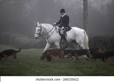 Members of the Burne Hunt,based in Derbyshire, UK, out following a ready made scent cross country. They do not chase and kill foxes. Taken on 20/05/2009