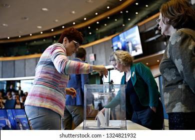 Members of European Parliament voting in a parliamentary committe in EU Parliament Brussels, Belgium on Feb. 27, 2019