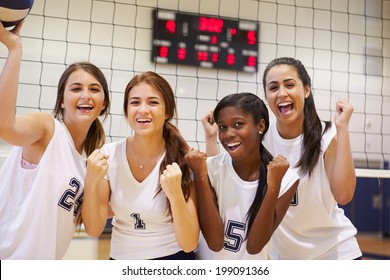 Members Of Female High School Volleyball Team