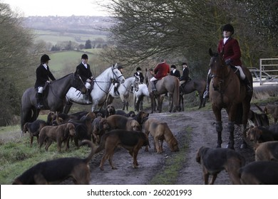Members of the Four Shires Hunt,based in Derbyshire, UK, out following a ready made scent cross country. They do not chase foxes.taken on 26/01/2012