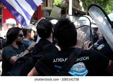 Members of Golden Dawn clashed with riot police outside of the Turkish Consulate during the visit of Devlet Bahceli, head of Turkey's Nationalist Movement Party in Thessaloniki,Greece Jun 28, 2012