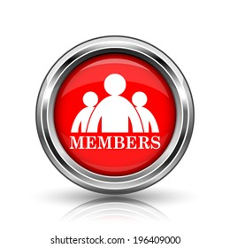 Members icon. Shiny glossy internet button on white background.