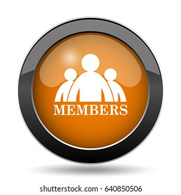 Members icon. Members website button on white background.