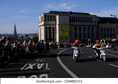 Members of Motorcycle Police during the Balloon Day Parade along the downtown boulevards in Brussels, Belgium September 15, 2019.