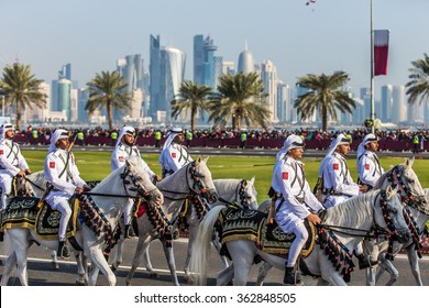 Members of the Qatari cavalry during a parade celebrating Qatar National Day in Doha on 18th of December 2015.