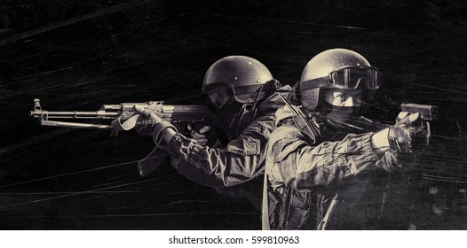 Members of the special forces division. Russian police special force - Special Rapid Response Unit or SOBR (Spetsnaz). Collage. Filtered photo.