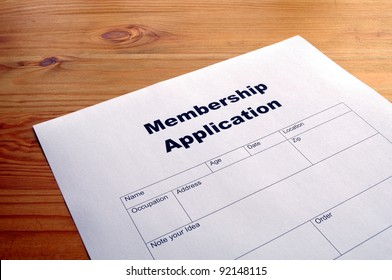 membership application form on desktop in business office